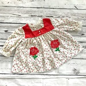 Vintage 1970's roses floral appliqué prairie dress